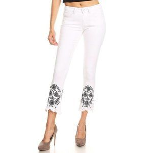 Skinny White Denim Jeans, Embroidered, By K's More
